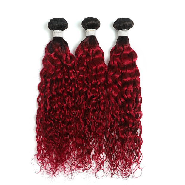Ombre Burgundy Red Water Wave 3 Hair Bundles (T1B/BURG) (4346883964998)