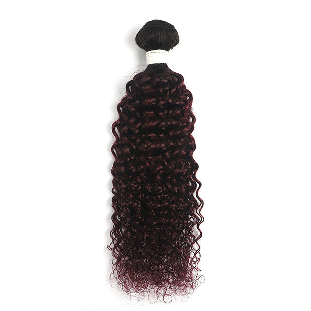 Ombre Maroon Red kinky curly Hair Bundle (T1B/99J) (4339262062662)