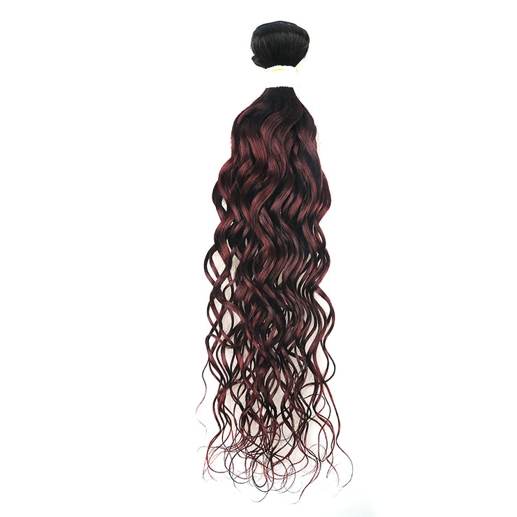 Ombre Maroon Red Water Wave Hair Bundle (T1B/99J) (4339217596486)