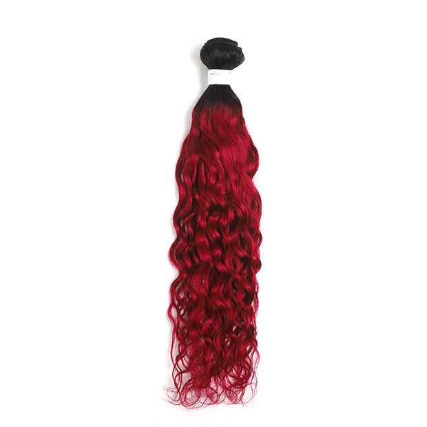 Ombre Burgundy Red Water Wave Hair Bundle (T1B/BURG) (4346875084870)