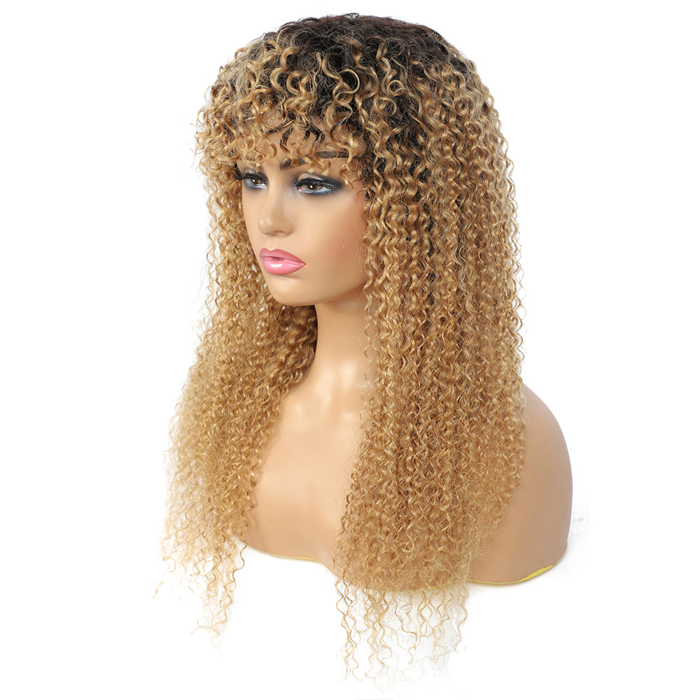 Kemy Hair Ombre Honey Blonde Kinky Curly Human Hair Wigs with Bang(16''-28'')(T1B/27)