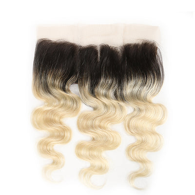 Ombre Blond Body Wave Remy Human Hair 4×13 Free/Middle Part Lace Frontal 8''-20'' (1B/613) (3947319918662)