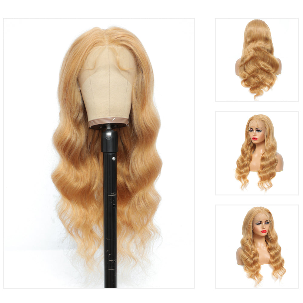 Kemy Hair Custom Body Wave Honey Blonde 13X4 Lace Frontal wigs 24''-28'' ( 27 )