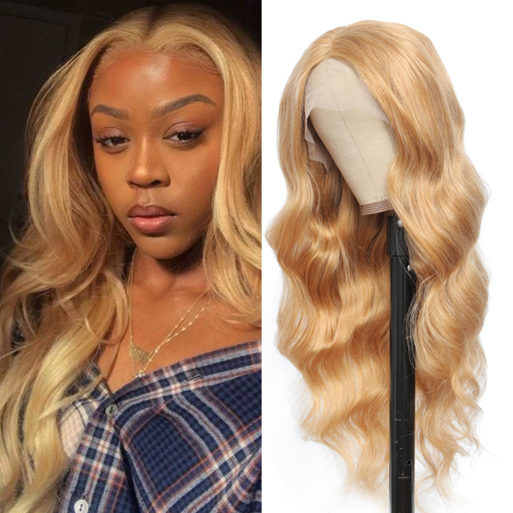 Kemy Hair Custom Honey Blonde body wave  T-part Lace wigs 16''-28'' (  27 )
