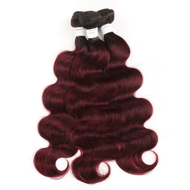 Ombre 99J Body Wave Three Human Hair Bundles 8''-26''