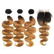Ombre 27 Body Wave 3 Human Hair Bundles with One 4×4 Free/Middle Lace Closure (4249222971462)
