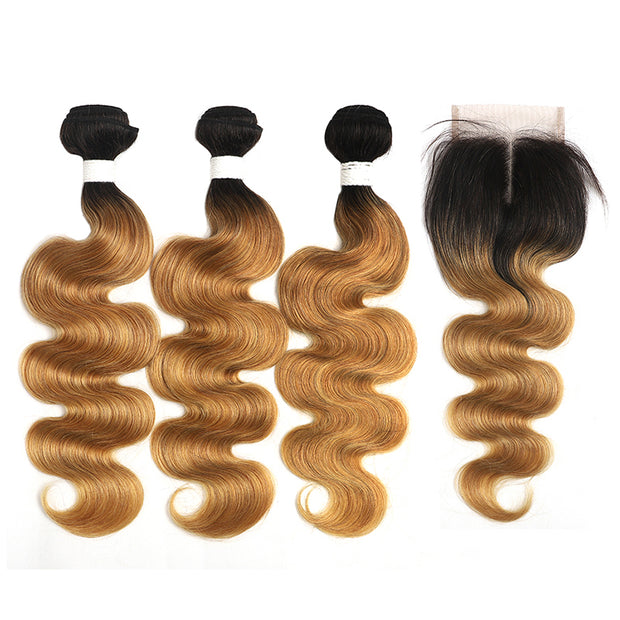 Ombre 27 Body Wave 3 Human Hair Bundles with One 4×4 Free/Middle Lace Closure