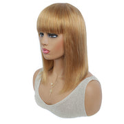 Honey Blonde Straight Human Hair Wigs with Bang 8''-16'' (27#)