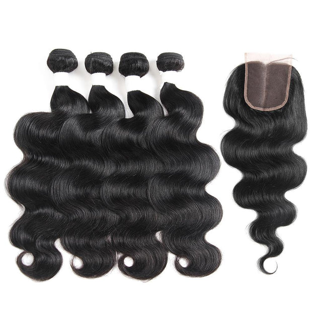 Body Wave Black Human Hair 4 Bundles Weave with One Free/Middle Part 4×4 Lace Closure (1B)