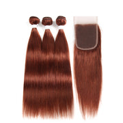 Straight Colored Human Hair Weave with Free /Middle Part 4×4 Lace Closure (33) (2782819909732)