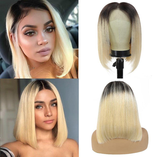 Kemy Hair Custom ombre 613 Blond Bob Human Hair Lace Front wigs 10''-16'' (4453933645894)