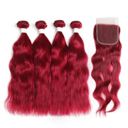 Natural Wavy Burgundy Red Human Hair 4 Bunldes with one 4×4 Free/Middle Part Lace Closure (BURG)