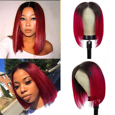 Kemy Hair Custom ombre Burg Bob Human Hair Lace Front wigs 10''-16''