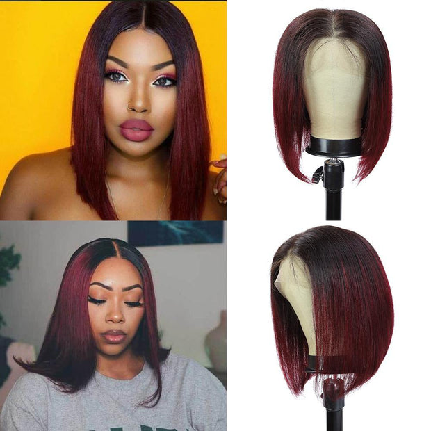 Kemy Hair Custom ombre 99J Bob Human Hair Lace Front wigs 10''-16''