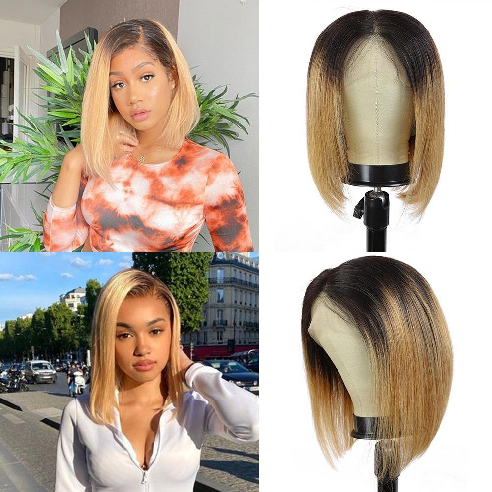 Kemy Hair Custom ombre 27 Bob Human Hair Lace Front wigs 10''-16'' - Kemy Hair