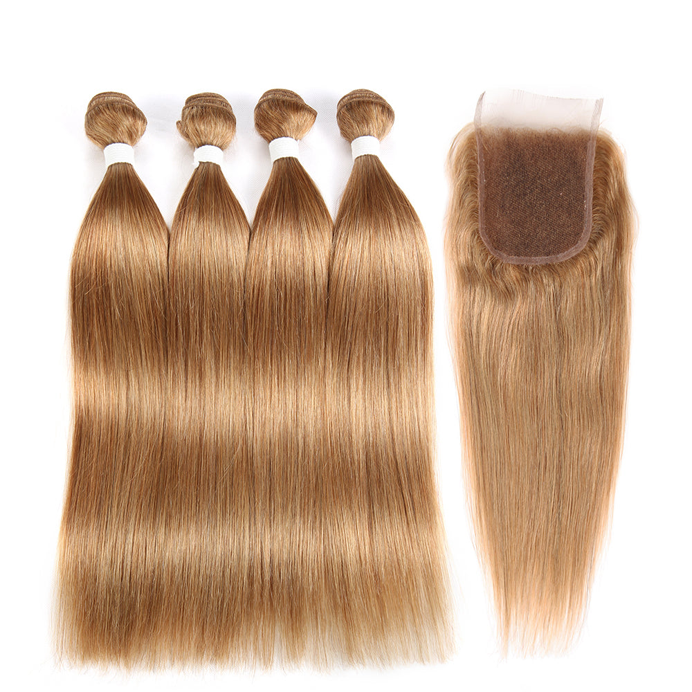 Straight Colored Human Hair Four Bundles Weave with One Free/Middle Part 4×4 Lace Closure (27) (2840371134564)