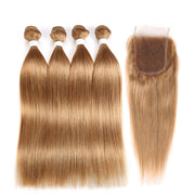 Straight Colored Human Hair Four Bundles Weave with One Free/Middle Part 4×4 Lace Closure (27)
