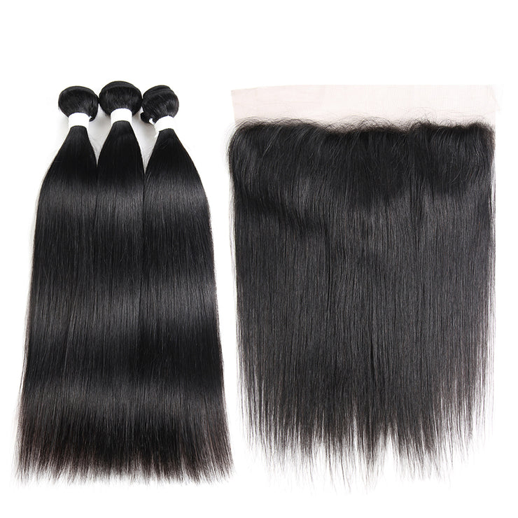 Straight Colored Human Hair Free/Middle Part 4×13 Lace frontal  (1B) (2783419859044)