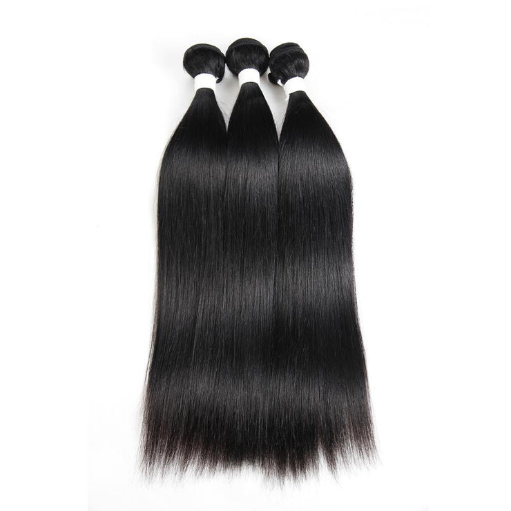 Colored 100% Human Hair Weave Straight 3 Hair Bundles 8-26 inch (1B) (2612284489828)