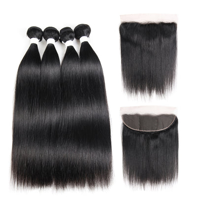 Straight Colored Human Hair Four Bundles Weave with One Free/Middle Part 4×13 Lace Frontal (1B)