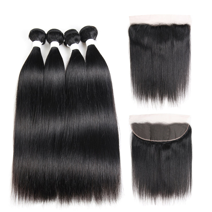 Straight Colored Human Hair Four Bundles Weave with One Free/Middle Part 4×13 Lace Frontal (1B) (2840954798180)