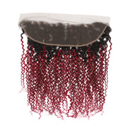 Ombre 30 Straight 3 Human Hair Bundles with One 4×13 Free/Middle Lace Frontal (4251447787590)