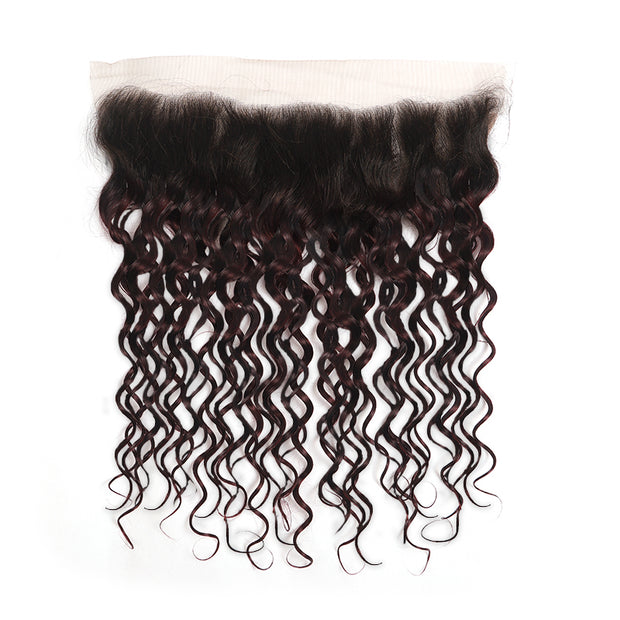 Ombre Red Wine Water Wave 3 Hair Bundles with One Free/Middle Part 4×13 Lace Frontal(T1B/99J) (4339238305862)