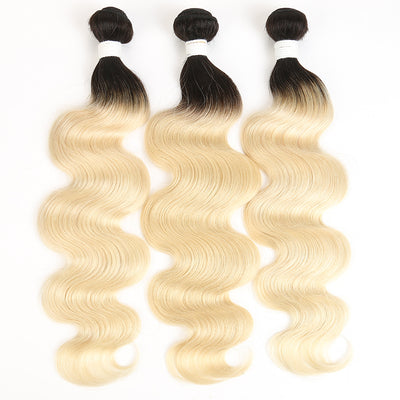 Ombre Blond Body Wave Remy 3 Human Hair Bundles 8''-26'' (1B/613) (3947303731270)