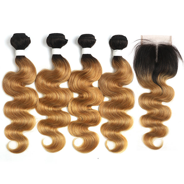 Ombre 27 Body Wave 4 Human Hair Bundles with One 4×4 Free/Middle Lace Closure