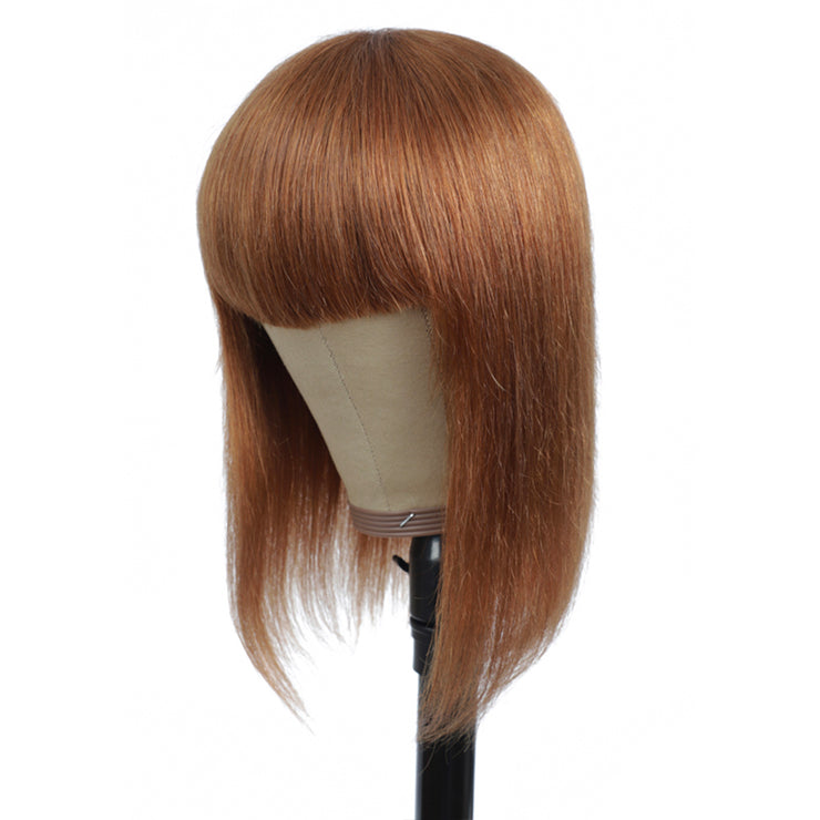 Light Brown Straight Human Hair Wigs with Bang 8''-16'' (30#)
