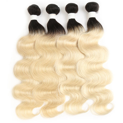 Ombre Blond Body Wave Remy 4 Human Hair Bundles 8''-26'' (1B/613) (3947300880454)
