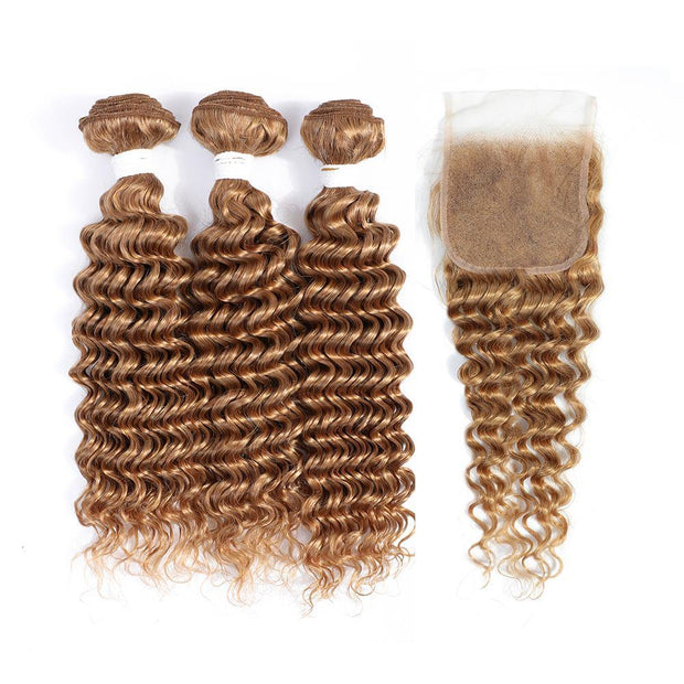 3 Deep Wave Honey Blonde Human Hair Bundles with 4×4 Lace Closure (27#)