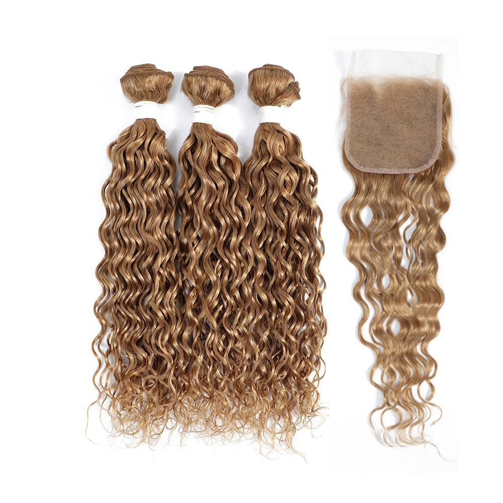 Kemy Hair Water Wave Honey Blonde Human Hair three Bundles with 4×4 Lace Closure (27#)