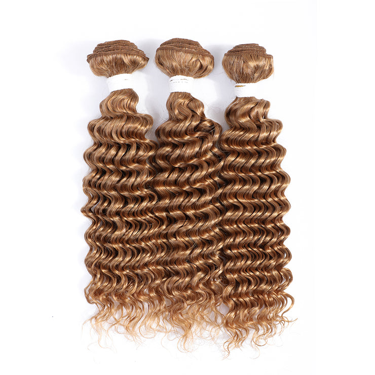 Honey Blonde 3 Human Hair Bundles Deep Wave (27#)