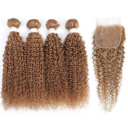 Kemy Hair 4 Human Hair Bundles Honey Blonde Kinky Curly with 4×4 Lace Closure (27#)