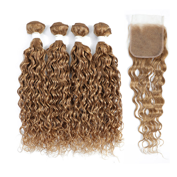 4 Human Hair Bundles Honey Blonde Water Wave with 4×4 Lace Closure (27#)