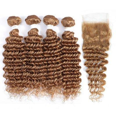 Kemy Hair 4 Human Hair Bundles Honey Blonde Deep Wave with 4×4 Lace Closure (27#)