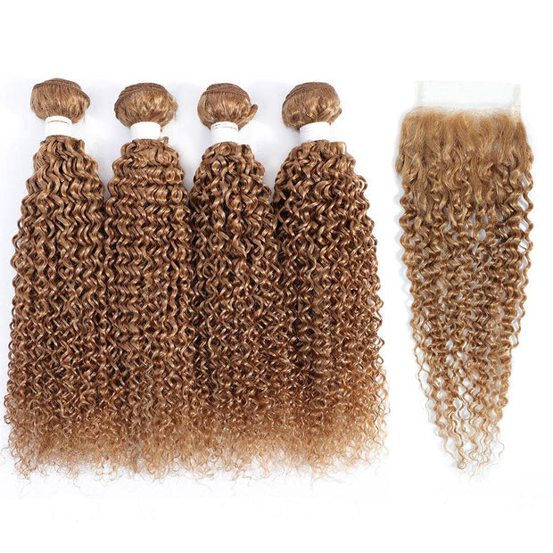 4 Human Hair Bundles Honey Blonde Kinky Curly with 4×4 Lace Closure (27#)