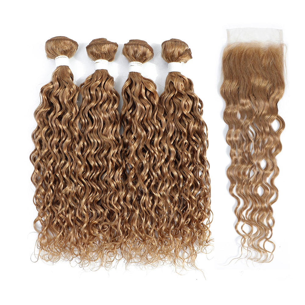 Kemy Hair Four Human Hair Bundles Honey Blonde Water Wave with 4×4 Lace Closure (27#)