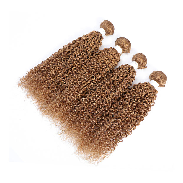 4 Human Hair Bundles Honey Blonde Kinky Curly (27#)