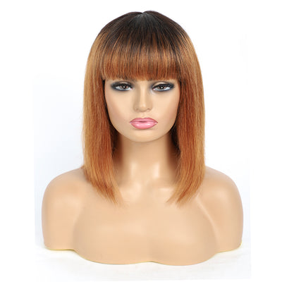 Ombre Brown Straight Two tone Human Hair Wigs with Bang 8''-16'' (T1B/30)