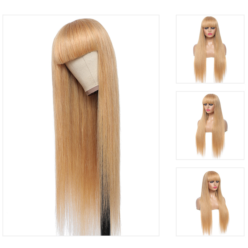 Kemy Hair Honey Blonde Straight Human Hair Wigs with Bang 16''-28''(27#)