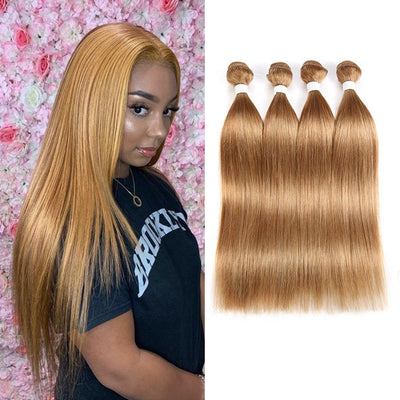 Kemy Hair Colored 100% Human Hair Weave Straight Four Hair Bundles 8-26 inch (27) - Kemy Hair