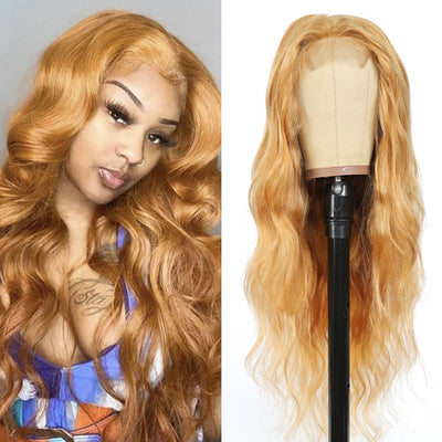 Kemy hair Custom Honey Blonde Body Wave 4X4 Lace Closure wigs 16''-28'' ( 27 ) - Kemy Hair