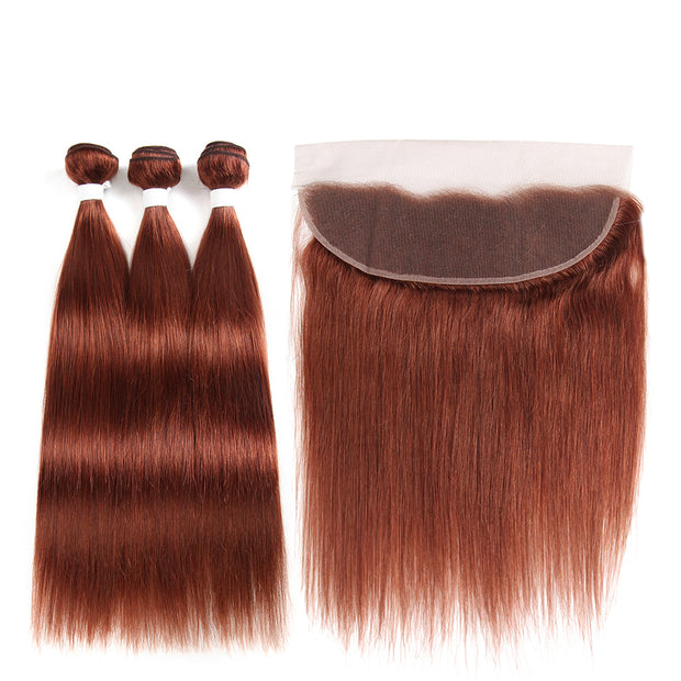 Straight Colored Human Hair Weave with Free /Middle Part 4×13 Lace Frontal (33)