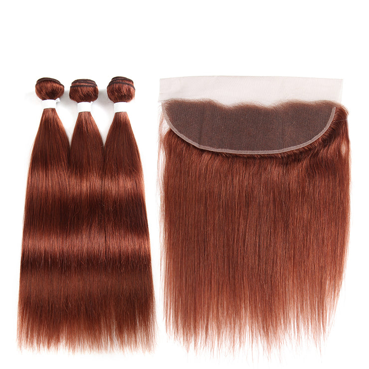 Straight Colored Human Hair Weave with Free /Middle Part 4×13 Lace Frontal (33) (2784185122916)