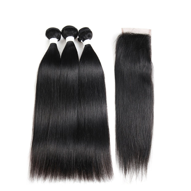 Straight Colored Human Hair Weave with Free /Middle Part 4×4 Lace Closure (1B)