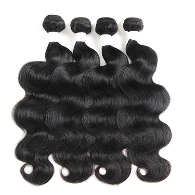 Colored 100% Human Hair Weave Body Wave 4 Hair Bundles 10-26 inch (1B)
