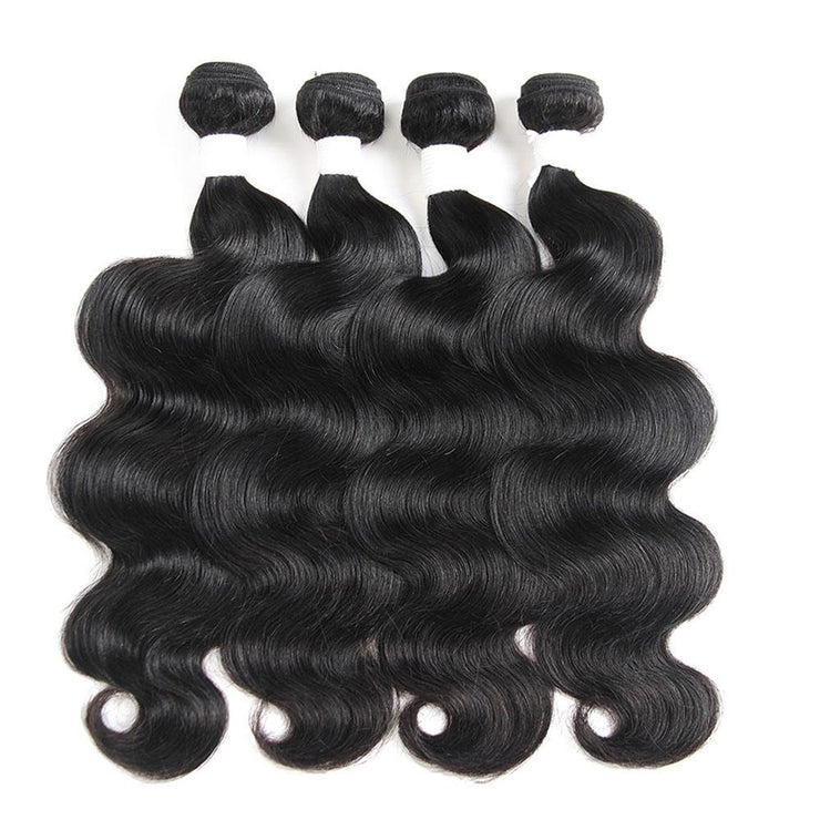Colored 100% Human Hair Weave Body Wave 4 Hair Bundles 10-26 inch (1B) (2787574677604)