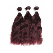 Natural Wavy 99J 3 Human Hair Bundles (8''-26'')